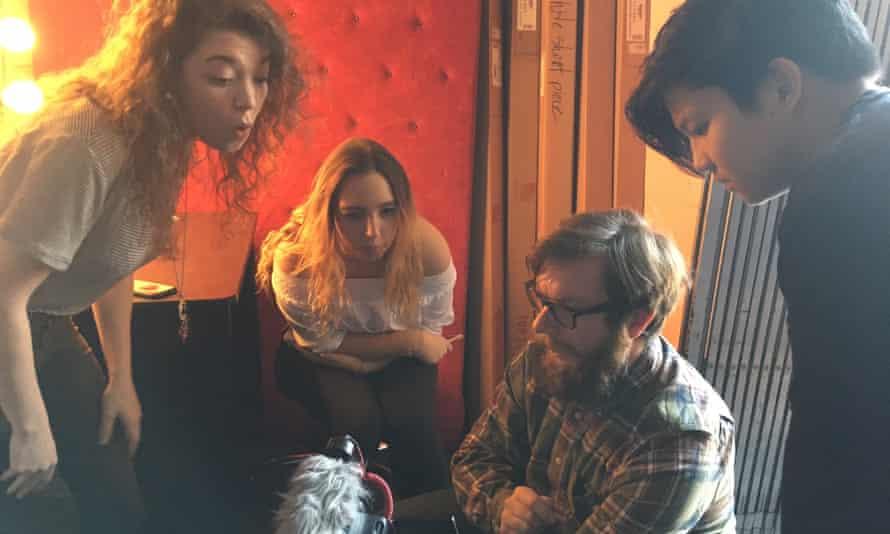 Teens learn film tips at an LA film studio.