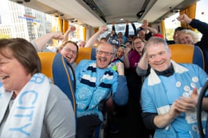 City fans aboard a supporters' coach.