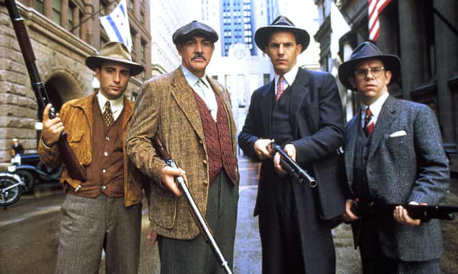 Sean Connery in The Untouchables, 1987, with, from left, Andy Garcia, Kevin Costner and Charles Martin Smith.