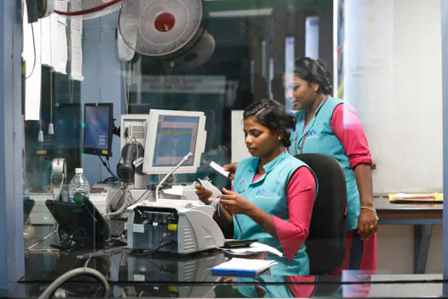 Metro workers at the customer care centre at Aluva metro station in Kochi