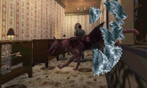 Zombie hounds crash through the windows in Resident Evil