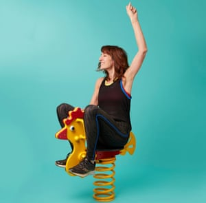 Zoe Williams on a chicken spring from a kids' play area