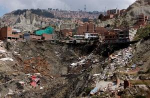 La Paz, Bolivia: The remains of houses destroyed in a landslide