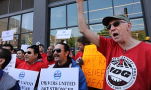 Uber and other app-based drivers protest in New York ahead of Uber's IPO on the New York Stock Exchange.