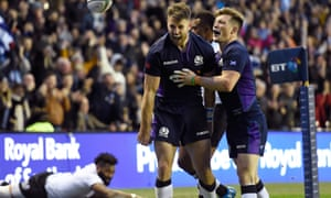 Tommy Seymour (left) celebrates with George Horne after scoring his third try during Scotland's autumn international win over Fiji at Murrayfield.