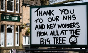 The closed Big Tree pub in Sheffield thanks NHS and key workers.