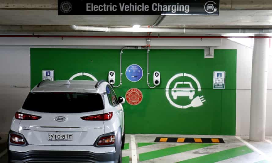 A car charges at an electric vehicle charge station in Crows Nest, Sydney.