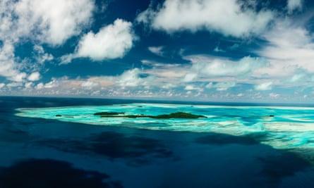 Aerial of the Ayau Islands, Raja Ampat, Indonesia.
