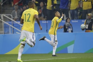 Brazil's Neymar celebrates after scoring the opener against Colombia.