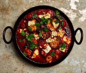 Yotam Ottolenghi's roast sweet potato, tomato sauce and feta.