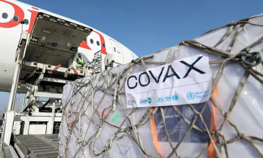 AstraZeneca vaccines from the Covax vaccine-sharing scheme are unloaded at Bole International Airport in Ethiopia, on 7 March 2021.