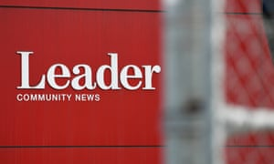 A sign for Leader Community Newspapers at its Melbourne office
