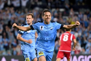 Bobo of Sydney celebrates scoring the winning goal in extra time during the FFA Cup Final between Sydney FC and Adelaide United.