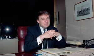 Donald Trump at his desk, where he likes to review everything written or said about him.
