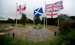 Flags of UK countries fly behind the union flag