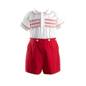 Red shorts with white and red shirt by Rachel Riley