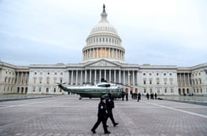 A military helicopter lands at the US Capitol