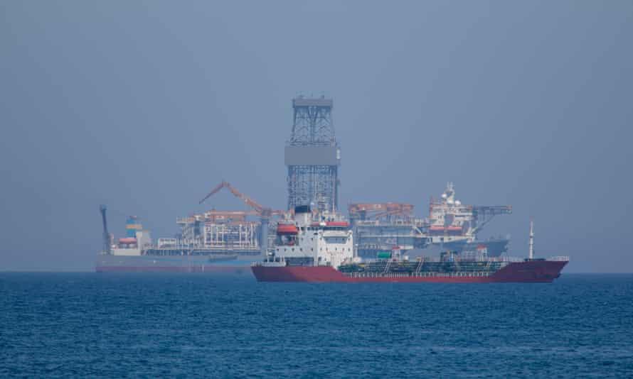 A drillship off the coast of Limassol, Cyprus.