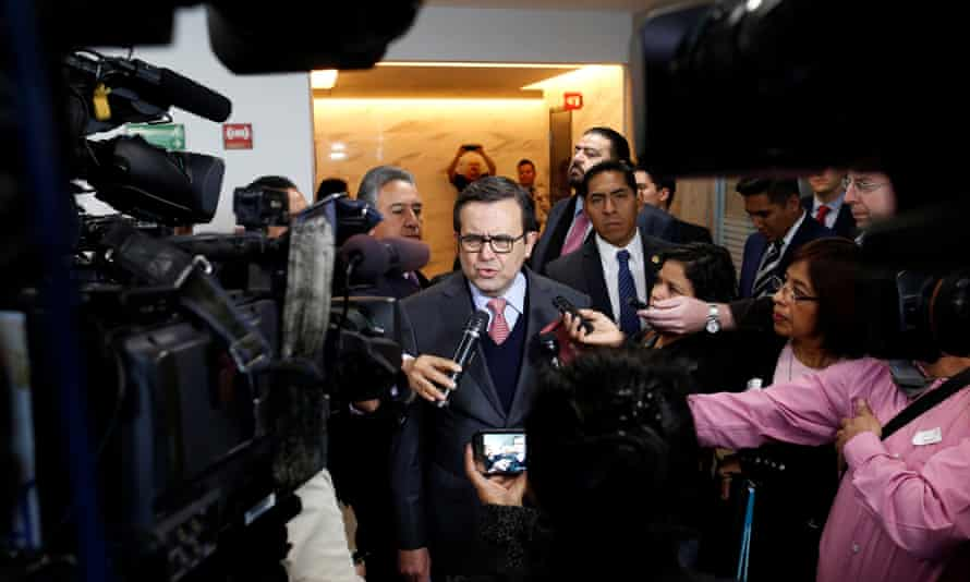 Mexico's economy minister, Ildefonso Guajardo, speaks to the media after a meeting with a Japanese businessman in Mexico City on Friday.