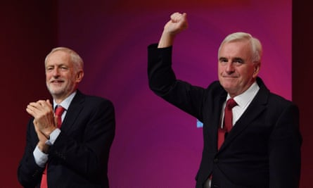 Jeremy Corbyn and John McDonnell at the Labour party conference last week.