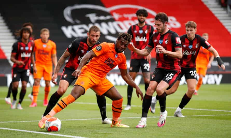 Allan Saint-Maximin holds on to the ball in Newcastle's victory over Bournemouth.