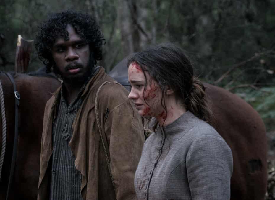 Baykali Ganambarr as Billy and Aisling Franciosi as Clare.