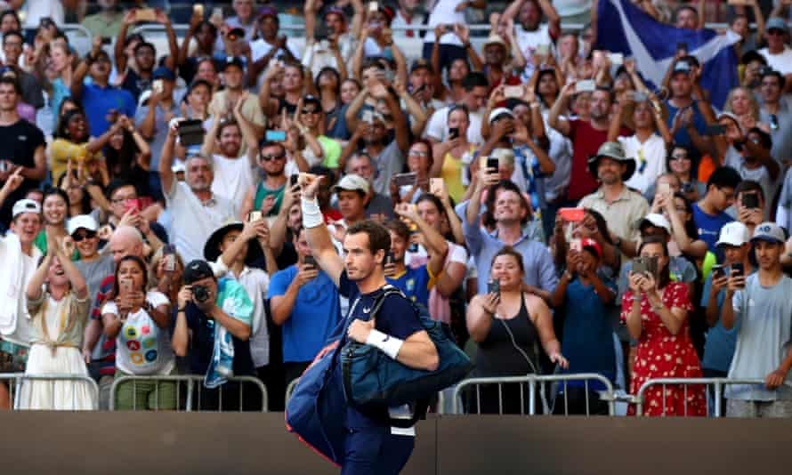 Andy Murray walks onto the court prior to his first round match against Roberto Bautista Agut in Melbourne