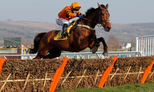Thistlecrack, ridden by Tom Scudamore, jumps the last in the Ryanair World Hurdle before going on to win easily on day three of the Cheltenham Festival.