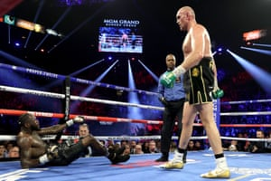 Fury knocks Wilder down in the third round with a jab followed by a clinical right hand.