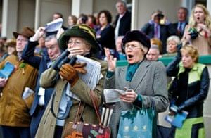 Cheltenham Festival 2010Spectators react as they witness horses falling during the second day of the 2010 Cheltenham National Hunt racing festiva.