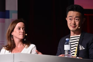 Jude Troy from eOne Films and screenwriter and showrunner and writer Benjamin Law in a pane hosted by Virginia Trioli