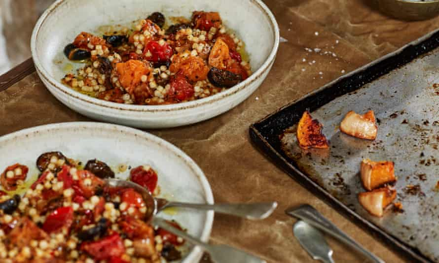 Roast squash fregola with late tomatoes and spice.