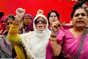 Dhaka, BangladeshNGO leaders and workers at a rally to demand equal rights for women in the work place, with safety and a fair salary
