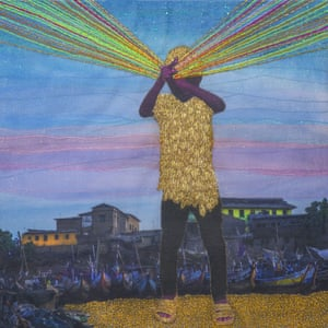 """Unstoppable: 'The picture was shot in Jamestown, Accra. A little boy crosses his arms in a gesture of superhero. Rays of coloured threads come out of his hands. This refers to self-empowerment, the power of determination, hope and pride of a young black African kid."""""""