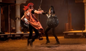 Ben Dilloway (left) as Achilles in Chris Hannan's adaptation of the Iliad.