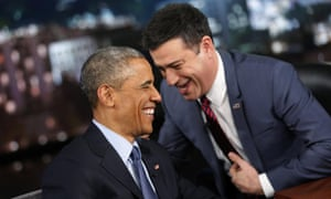 US President Barack Obama laughs with show host Jimmy Kimmel during a commercial break in a taping of Jimmy Kimmel Live in Los Angeles. On the show he revealed he never texts and can't use a smartphone.