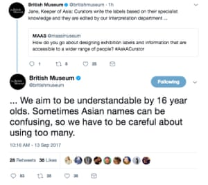 The British Museum tweets referring to Asian names