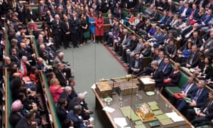 Theresa May speaking in the Commons after the result of the final vote was announced.