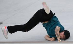 Hayley Wilson of Australia takes a tumble