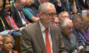 Jeremy Corbyn speaks during PMQs