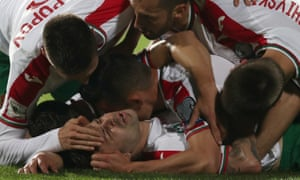 Bulgaria celebrate Spas Delev's second goal in the victory over Holland
