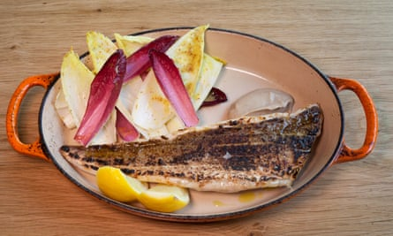 'Lubricated with a rich anchovy sauce': ember-baked gurnard.