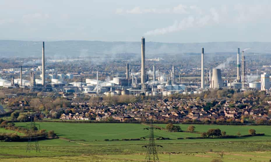 Stanlow oil refinery is seen near Ellesmere Port in Cheshire, UK