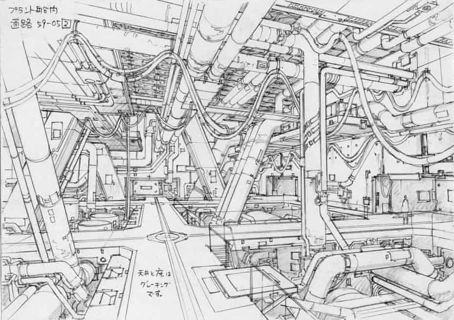 #2 concept design for Scene 59, cut 5 of Ghost in the Shell 2: Innocence (2004). Layout artist Takashi Watabe drew meticulously detailed pencil sketches, inventing fictitious yet realistic environments of dazzling complexity.