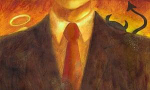 Businessman with Devil & Angel on Shoulders