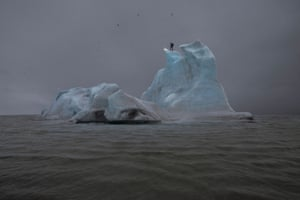 'Charrière stood on this iceberg all day, in brutal conditions, trying to melt the ice with a blowtorch': The Blue Fossil Entropic Stories 1, 2013 by Julian Carrière.