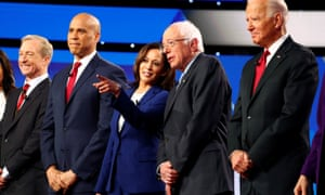 Cory Booker and Kamala Harris share the debate stage in Westerville, Ohio, with Tom Steyer, Bernie Sanders and Joe Biden. Booker and Harris will be absent for Thursday debate in Los Angeles.