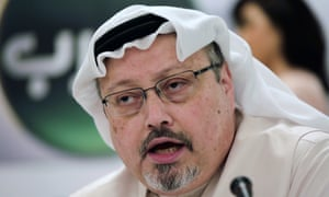 Jamal Khashoggi speaks during a press conference in Manama, Bahrain in 2014.