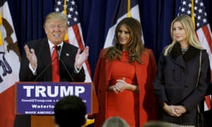 U.S. Republican presidential candidate Donald Trump speaks at a campaign rally on caucus day in WaterlooU.S. Republican presidential candidate Donald Trump speaks as (L-R) his wife Melania, daughter Ivanka and Ivanka's husband Jared Kushner listen, at a campaign rally on caucus day in Waterloo, Iowa in this February 1, 2016, file photo. Donald Trump's son-in-law, Kushner, a 35-year-old New Jersey newspaper owner who has no political experience, is the GOP presidential frontrunner's leading advisor on Israel. REUTERS/Rick Wilking/Files
