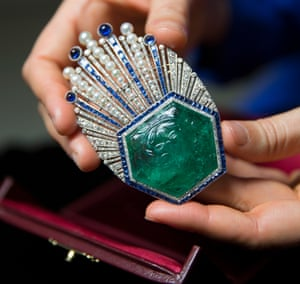 Designed by Coco Chanel's lover, Paul Iribe … emerald, sapphire and diamond brooch, 1910.